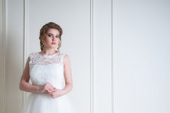 Beautiful bride with fashion wedding hairstyle and make up Royalty Free Stock Photography