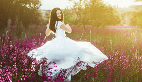 Beautiful bride in a field at sunset Stock Photo