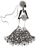 Beautiful bride with floral hair. Vector  Stock Photo