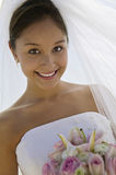 Beautiful Bride With Flower Bouquet Stock Photography