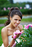 Beautiful bride with flowers Royalty Free Stock Photos