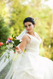 Beautiful bride with flowers Stock Photo