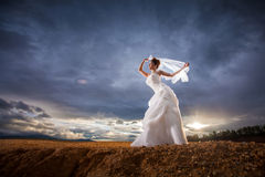 Beautiful bride in forest,cloudy twilight blue sky Royalty Free Stock Photography