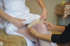Beautiful bride garter Stock Photo