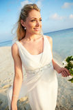 Beautiful Bride Getting Married In Beach Ceremony Royalty Free Stock Images