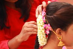 Beautiful bride getting prepared for wedding, indian wedding ceremony stock photos
