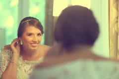 Beautiful bride. Getting ready for her wedding Stock Photography