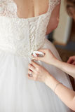 Beautiful bride is getting ready in the morning Stock Photography