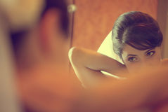 Beautiful bride getting ready for wedding Royalty Free Stock Photography