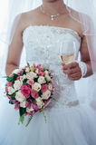 Beautiful bride getting ready in white wedding Royalty Free Stock Photography