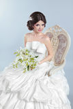 Beautiful bride girl wearing in wedding dress with voluminous sk Stock Images