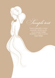 Beautiful bride on gold background. Vector illustration Royalty Free Stock Images