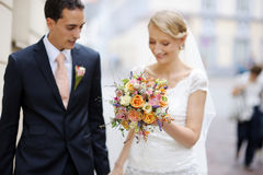 Beautiful bride and a goorm Stock Photography