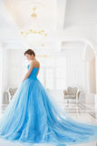 Beautiful bride in gorgeous blue dress Cinderella style stock photos