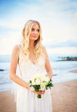Beautiful Bride, Gorgeous Woman on Tropical Beach at Sunset with Stock Photos