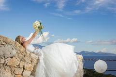Beautiful bride in a greek island Royalty Free Stock Photos
