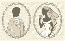Beautiful bride and groom. Illustration of beautiful bride and groom Royalty Free Stock Images