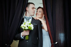 A beautiful bride and groom. Portrait of beautiful bride and groom Royalty Free Stock Photo