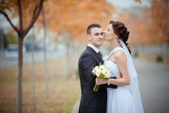 A beautiful bride and groom. Portrait of beautiful bride and groom Stock Photo
