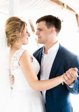 Beautiful bride and groom dancing at wedding ceremony Royalty Free Stock Photography