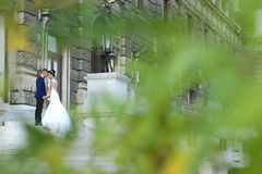 Beautiful bride and groom embracing on stairs Stock Photos