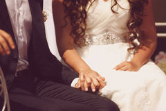 Beautiful bride and groom. Bride and groom holding hands Stock Photos