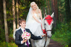 Beautiful bride and groom on horseback Royalty Free Stock Images