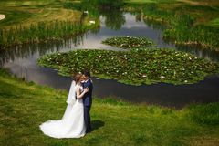 Beautiful bride and groom kissing and hugging near lake Stock Images