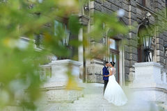 Beautiful bride and groom kissing on stairs Royalty Free Stock Photo