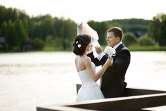 Beautiful bride and groom Stock Photography