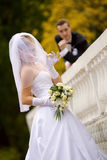 Beautiful bride and groom outdoor set Stock Photos