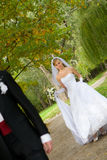 Beautiful bride and groom outdoor set Stock Image