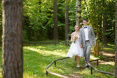 Beautiful bride and groom in a park Stock Image