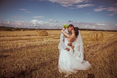 Beautiful bride and groom portrait in nature Stock Photography