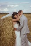 Beautiful bride and groom portrait in nature Royalty Free Stock Image