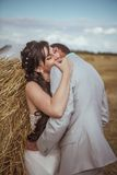 Beautiful bride and groom portrait in nature Royalty Free Stock Images