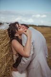Beautiful bride and groom portrait in nature Stock Image