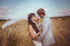 Beautiful bride and groom portrait in nature. Beautiful bride and groom portrait in  nature Royalty Free Stock Photo