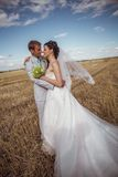 Beautiful bride and groom portrait in nature. Beautiful bride and groom portrait in  nature Royalty Free Stock Photos