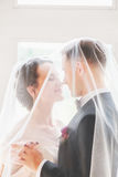 .Beautiful bride and groom portrait with veil over face. Stylish Loving wedding couple kissing and hugging Royalty Free Stock Photos