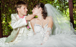 Beautiful bride and groom smilling Stock Image