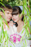 Beautiful bride and groom smilling Royalty Free Stock Image