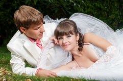 Beautiful bride and groom smilling Royalty Free Stock Images