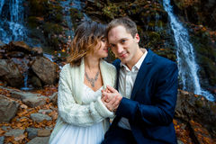 Beautiful bride and groom softly holding hands close up. Waterfall on background Stock Photo