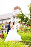 Beautiful bride and groom standing in grass and kissing. Wedding couple Royalty Free Stock Image