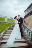 Beautiful bride and groom stay on stairs Stock Photos