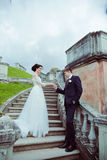 Beautiful bride and groom stay on stairs Stock Image