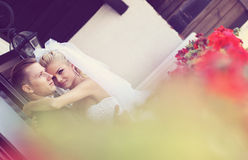 Beautiful bride and groom in their wedding day Stock Images