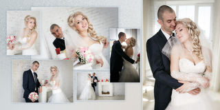 Beautiful bride an groom on their wedding day near fireplace Stock Image