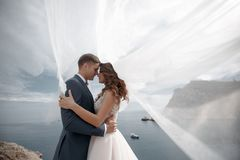 Happy couple in love with the groom and the bride against the background of the mountains near the blue ocean. A beautiful bride and groom on their wedding day stock photos